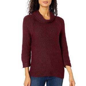 Texturized Maroon 3/4 Sleeve Cowl Neck Sweater